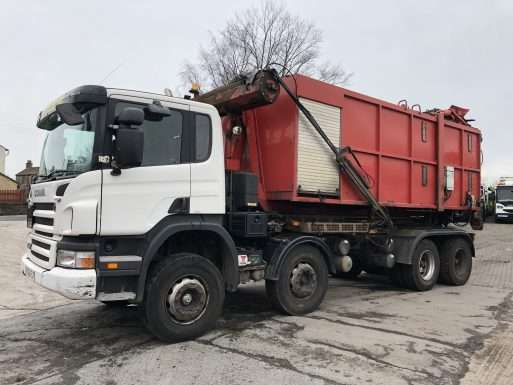 2006 Scania P340 8x4 RO-RO truck for sale, Multilift equipment