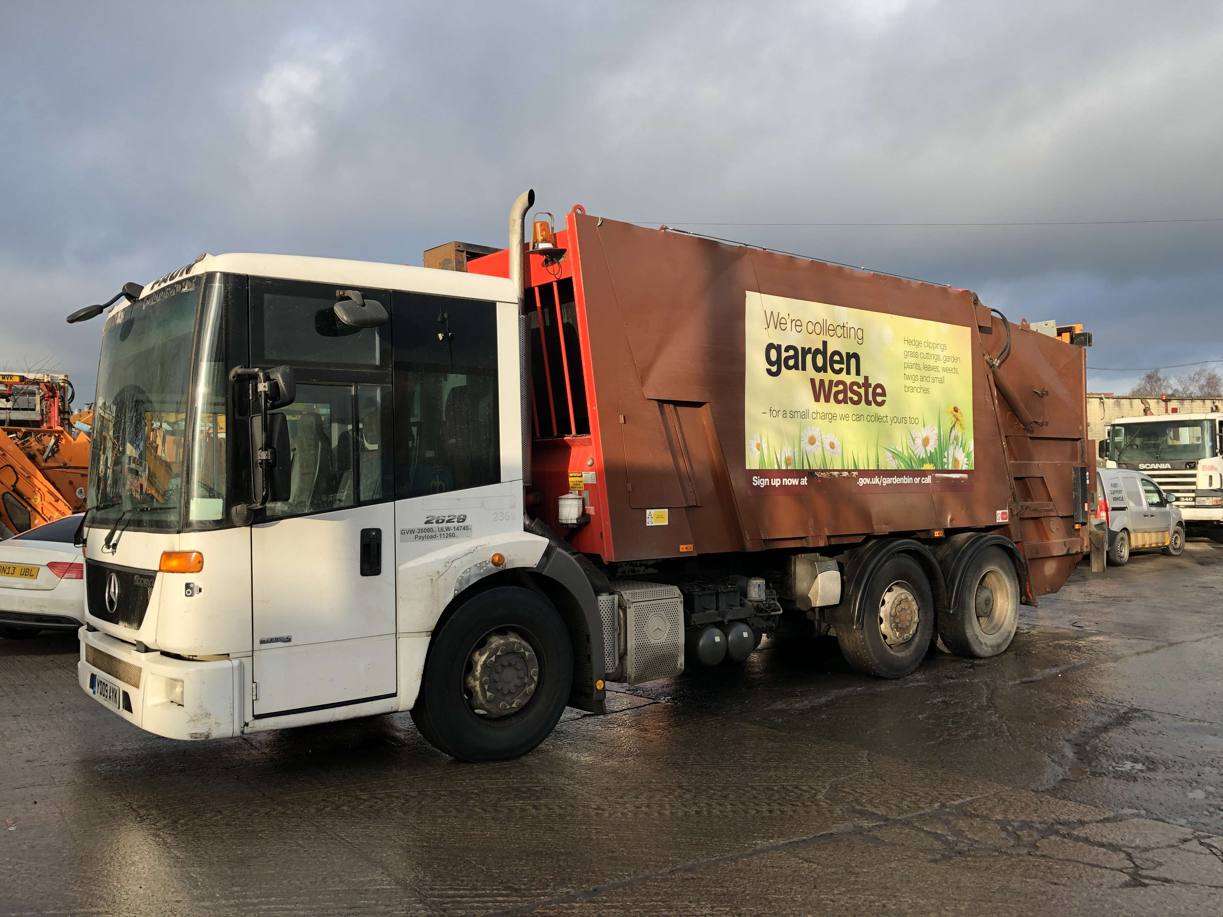 2009 Mercedes Econic 2629 6x2 dustcart for sale, Faun variopress body, Terberg binlift 8