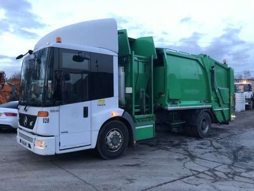 2011 Mercedes Econic 1823 4x2 recycling truck for sale, geesink body with food pod