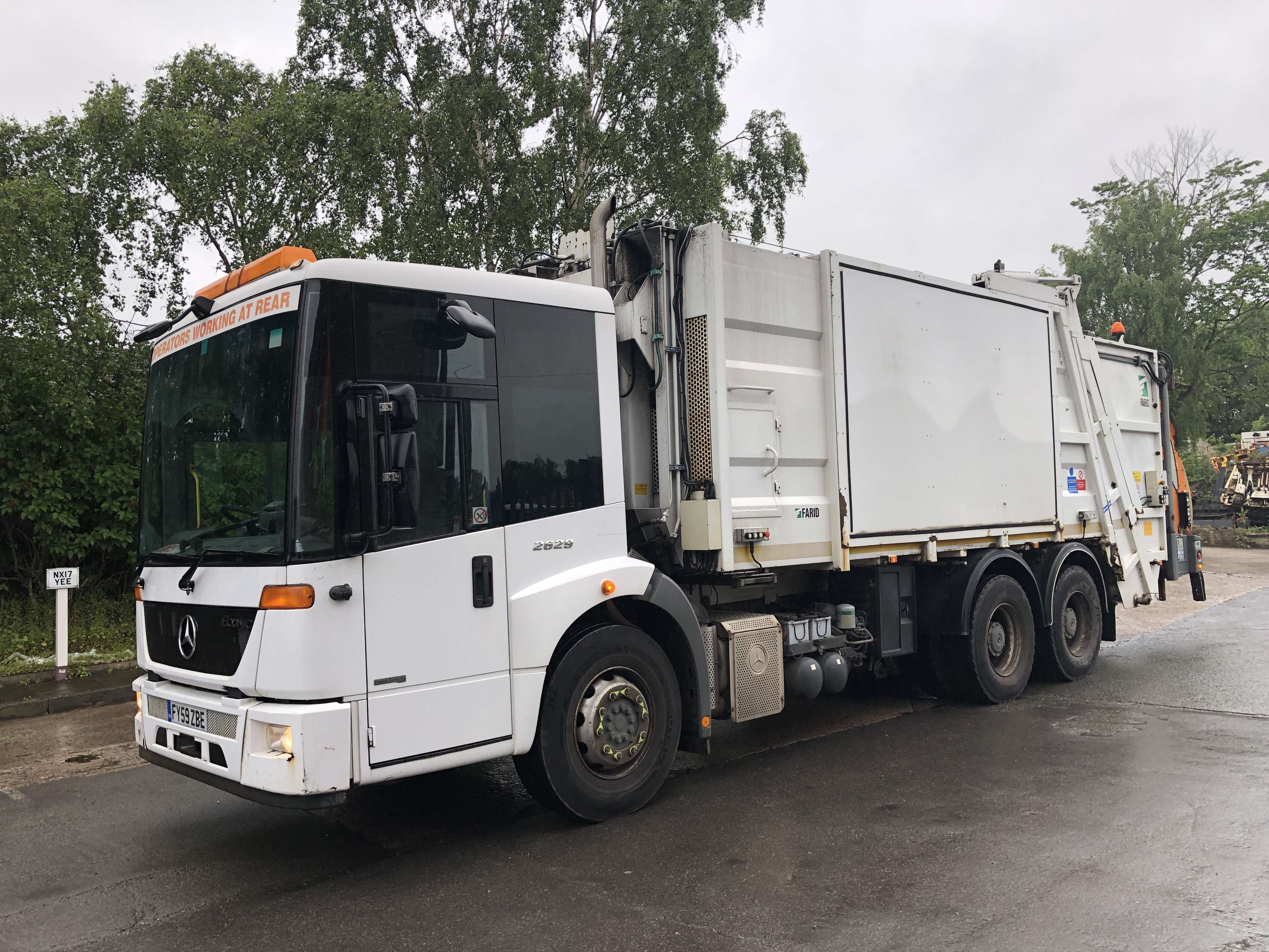Mercedes Econic 70/30 split body twinpack refuse truck for sale