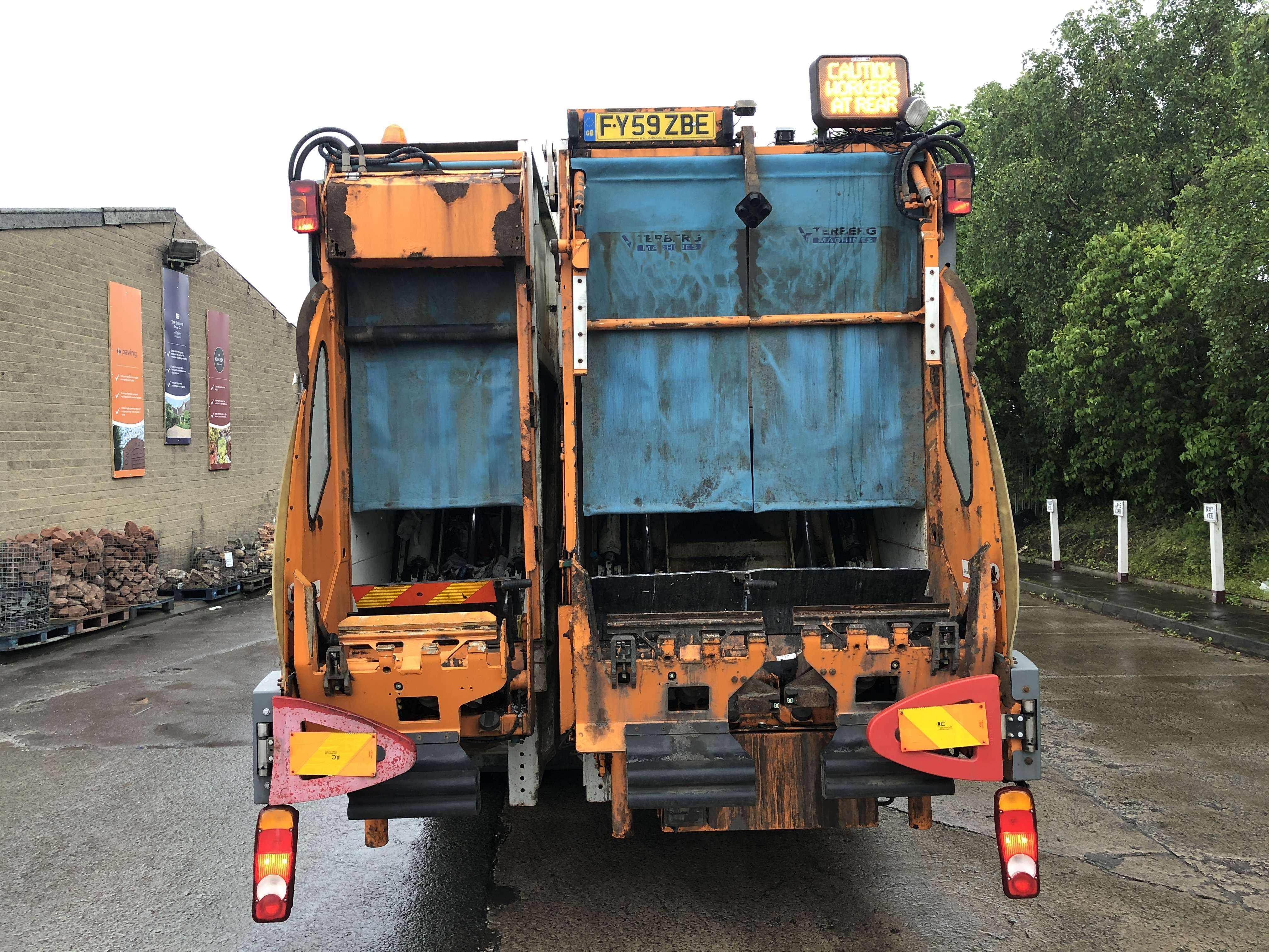 Mercedes Econic 70/30 split body twinpack refuse truck for sale 3